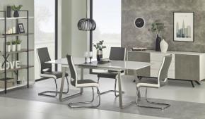 Jídelní stůl Thomas rozkládací - 160-200x90x75 cm (bílá/beton)