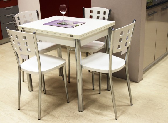 Jídelní stůl Treviso, rozkládací (bílá/chrom)