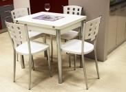 Jídelní stůl Treviso - rozkládací (bílá/chrom)
