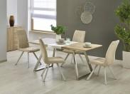 Jídelní stůl Trevor - rozkládací (bílá/dub sonoma/stříbrná)
