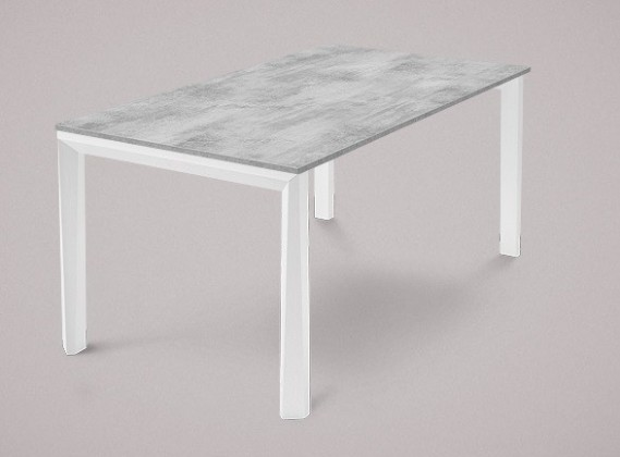 Jídelní stůl Universe-130 - Jídelní stůl (bílá mat struk., lamino cement)