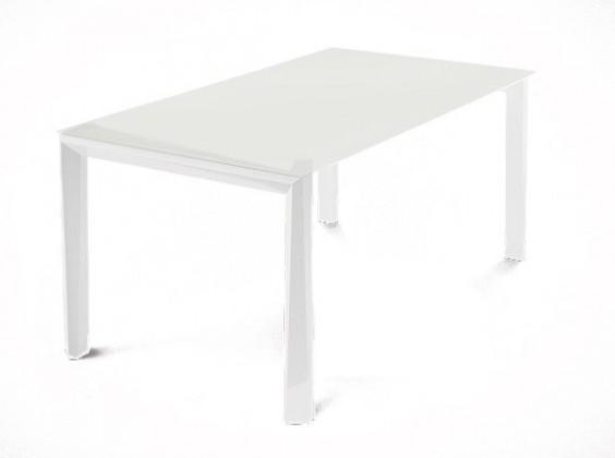 Jídelní stůl Universe-130 - Jídelní stůl (bílá mat struk., leptané sklo bílé)