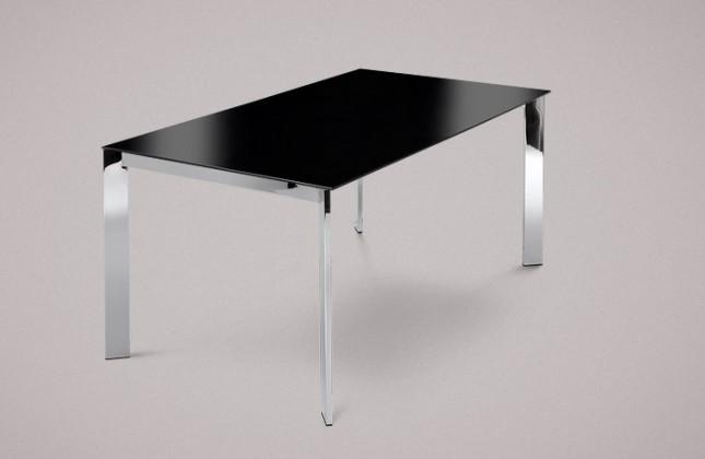 Jídelní stůl Universe-130 - Jídelní stůl (chrom, lakované sklo černé)