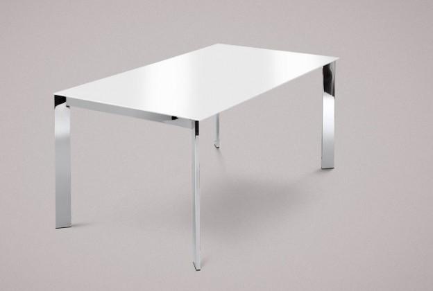 Jídelní stůl Universe-130 - Jídelní stůl (chrom, sklo extra bílé)