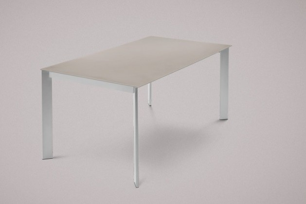 Jídelní stůl Universe-130 - Jídelní stůl (hliník, leptané sklo šedé)