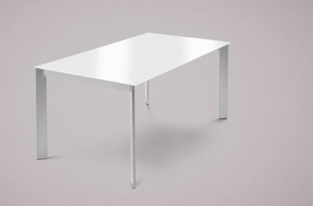 Jídelní stůl Universe-130 - Jídelní stůl (hliník, sklo extra bílé)
