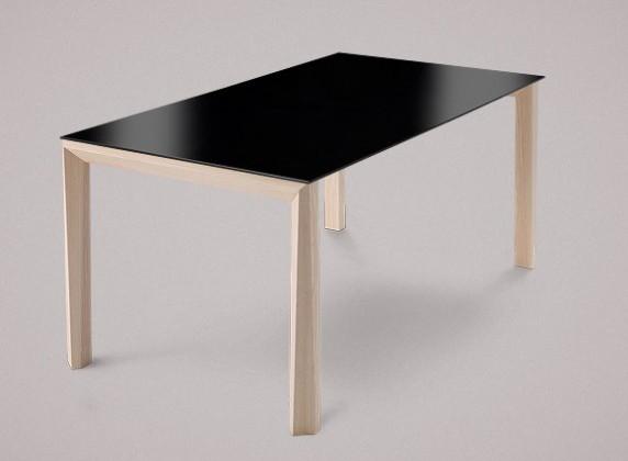 Jídelní stůl Universe-130 - Jídelní stůl (jasan, lak. sklo černé)