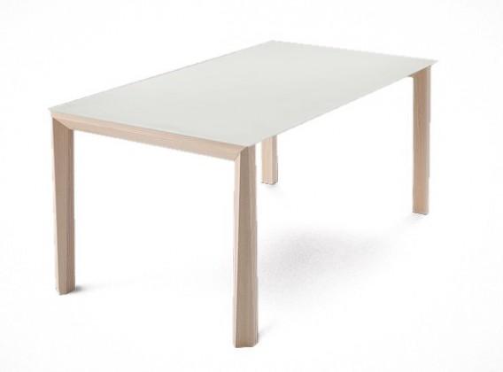 Jídelní stůl Universe-130 - Jídelní stůl (jasan, leptané sklo bílé)
