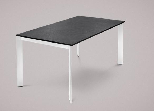 Jídelní stůl Universe-130 - Jídelní stůl (lak bílý, lamino břidlice)
