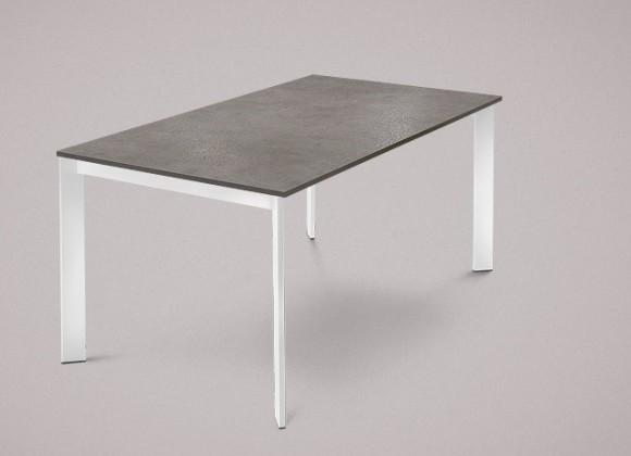 Jídelní stůl Universe-130 - Jídelní stůl (lak bílý, lamino šedobéžová)