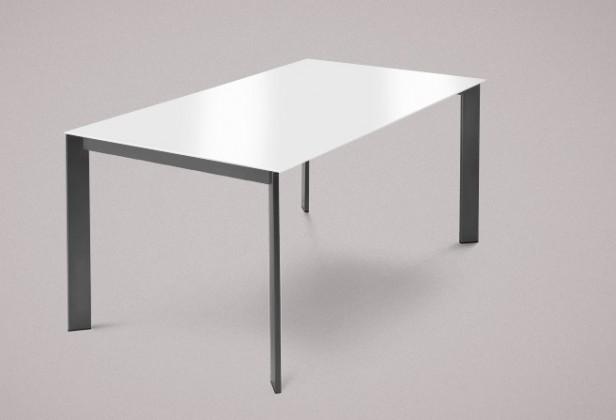 Jídelní stůl Universe-130 - Jídelní stůl (lak mat antracit, sklo extra bílé)