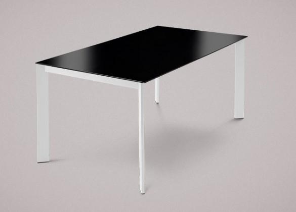 Jídelní stůl Universe-130 - Jídelní stůl (lak mat bílý, lak. sklo černé)