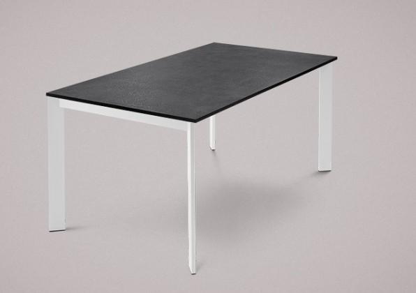 Jídelní stůl Universe-130 - Jídelní stůl (lak mat bílý, lamino břidlice)