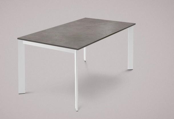 Jídelní stůl Universe-130 - Jídelní stůl (lak mat bílý, lamino šedobéžová)