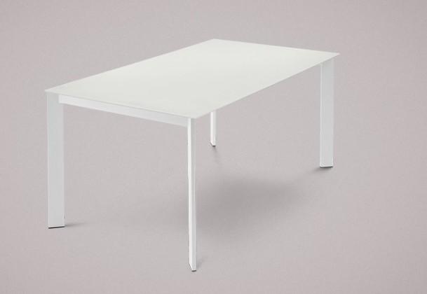Jídelní stůl Universe-130 - Jídelní stůl (lak mat bílý, leptané sklo bílé)