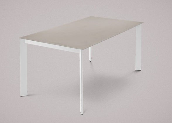 Jídelní stůl Universe-130 - Jídelní stůl (lak mat bílý, leptané sklo šedé)