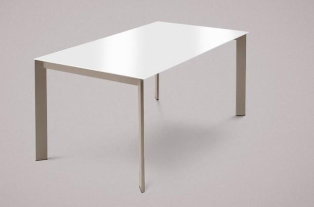 Jídelní stůl Universe-130 - Jídelní stůl (lak mat šedobéžový, extra bílá)
