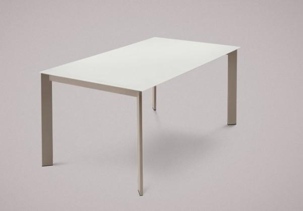 Jídelní stůl Universe-130 - Jídelní stůl (lak mat šedobéžový, sklo bílé)