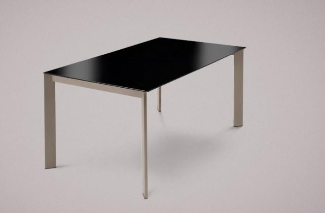 Jídelní stůl Universe-130 - Jídelní stůl (lak mat šedobéžový, sklo černá)