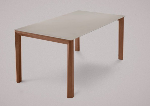Jídelní stůl Universe-130 - Jídelní stůl (ořech, leptané sklo šedé)