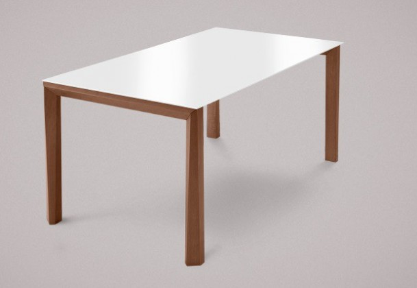 Jídelní stůl Universe-130 - Jídelní stůl (ořech, sklo extra bílé)