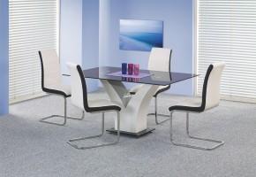 Jídelní stůl Vesper (sklo - černá/bílá)