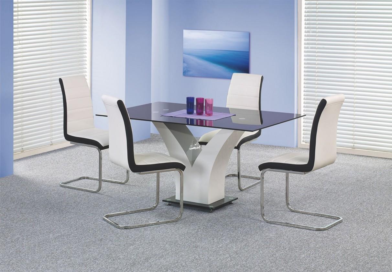 Jídelní stůl Vesper (sklo - černá / bílá)