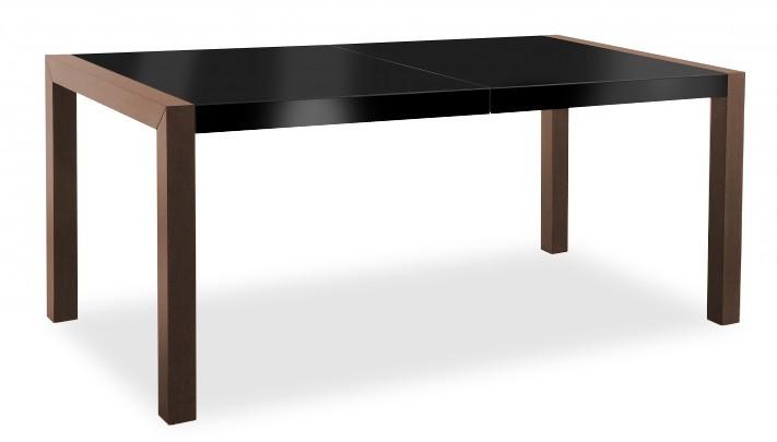 Jídelní stůl Vetro (deska černá/kostra čokoládový jasan)