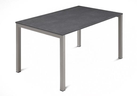 Jídelní stůl Web - 120 cm (kostra ocel písková/deska melamin textura šedá)