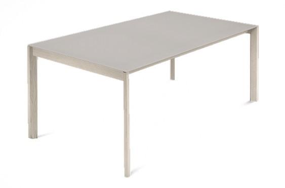 Jídelní stůl Web - 140 cm (kostra masiv jasan/deska leptané sklo šedé)