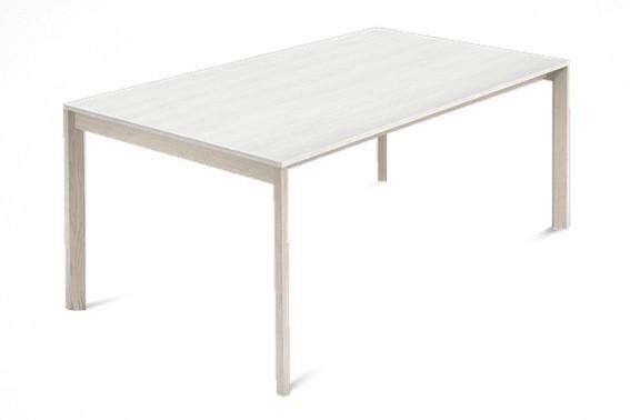 Jídelní stůl Web - 140 cm (kostra masiv jasan/deska malamin textura bílá)
