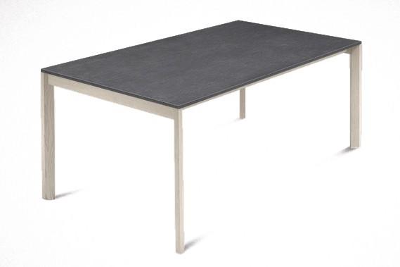 Jídelní stůl Web - 140 cm (kostra masiv jasan/deska melamin textura šedá)