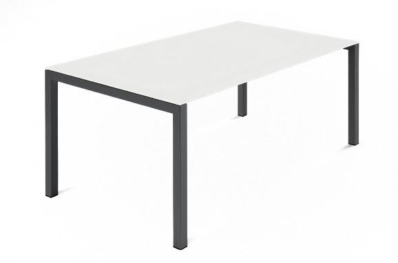 Jídelní stůl Web - 140 cm (kostra ocel antracit/deska leptané sklo bílé)