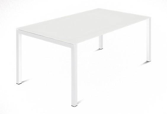 Jídelní stůl Web - 140 cm (kostra ocel bílá/deska leptané sklo bílé)
