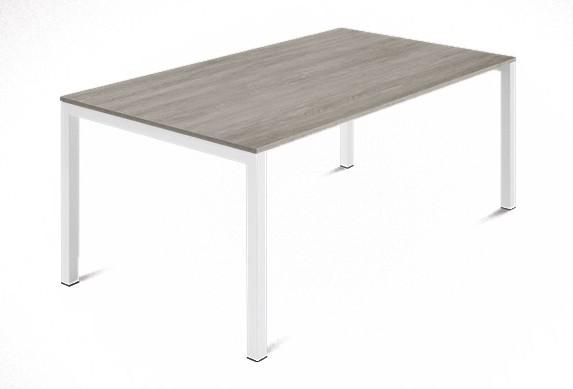 Jídelní stůl Web - 140 cm (kostra ocel bílá/deska melamin antický dub)