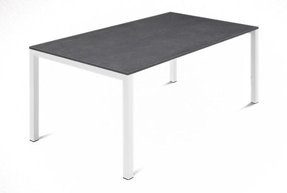Jídelní stůl Web - 140 cm (kostra ocel bílá/deska melamin textura šedá)