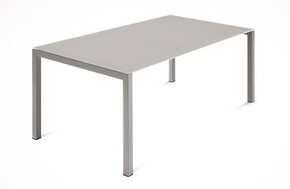 Jídelní stůl Web - 140 cm (kostra ocel písková/deska leptané sklo šedé)
