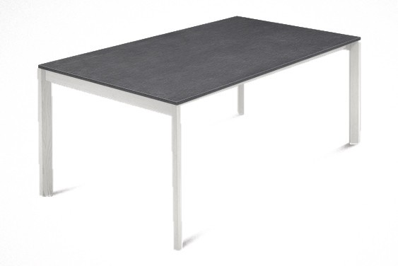 Jídelní stůl Web - 140cm (masiv textura bílá/melamin textura šedá)