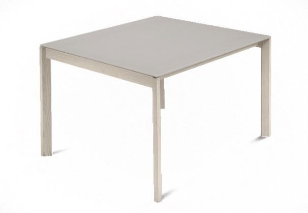 Jídelní stůl Web - 90 cm (kostra masiv jasan/deska leptané sklo šedé)