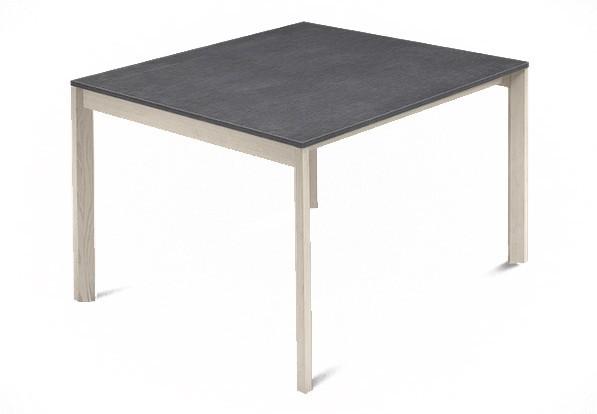 Jídelní stůl Web - 90 cm (kostra masiv jasan/deska melamin textura šedá)
