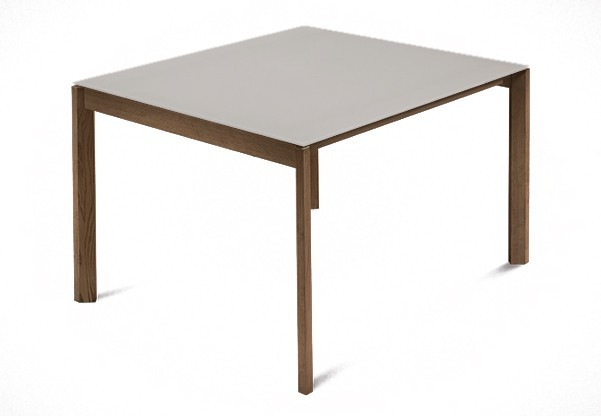 Jídelní stůl Web - 90 cm (kostra masiv ořech/deska leptané sklo šedé)
