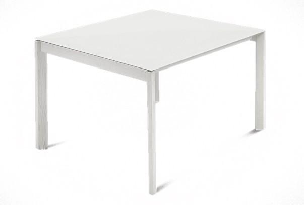 Jídelní stůl Web - 90 cm (kostra masiv textura bílá/deska leptané sklo bílé)