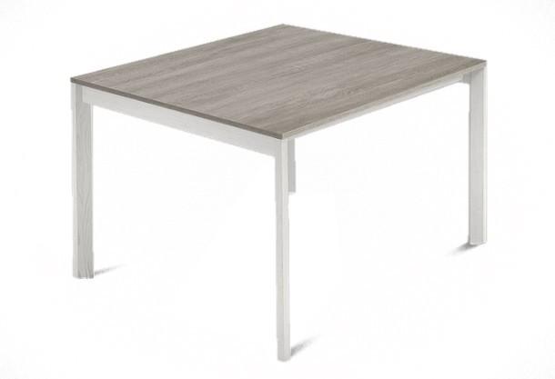 Jídelní stůl Web - 90 cm (kostra masiv textura bílá/deska melamin antický dub)
