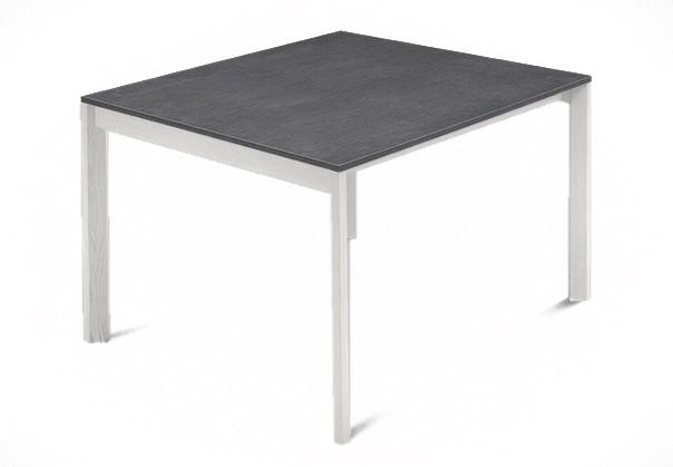 Jídelní stůl Web - 90 cm (kostra masiv textura bílá/deska melamin textura šedá