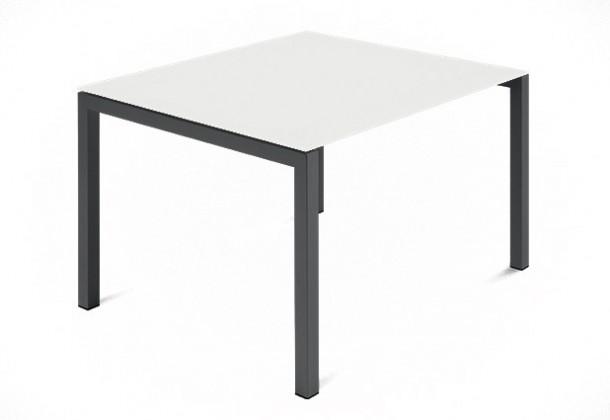 Jídelní stůl Web - 90 cm (kostra ocel antracit/deska leptané sklo bílé)