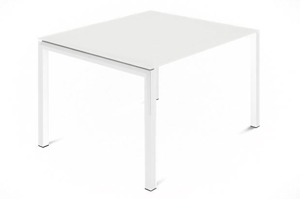 Jídelní stůl Web - 90 cm (kostra ocel bílá/deska leptané sklo bílé)