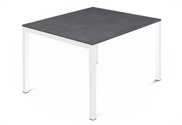 Jídelní stůl Web - 90 cm (kostra ocel bílá/deska melamin textura šedá)