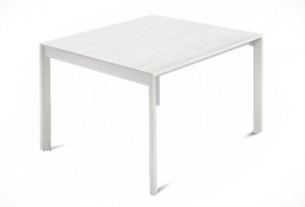 Jídelní stůl Web - 90cm (kostra masiv textura bílá/deska malamin textura bílá)