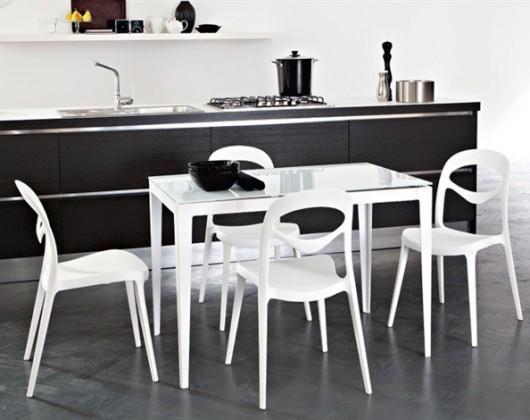 Jídelní stůl Wind - 130 cm (kostra bílá lesk/deska sklo extra bílé)
