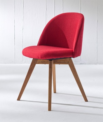 Jídelní židle ALLY 9368-228+BESS 9347-054 (červená,dub)